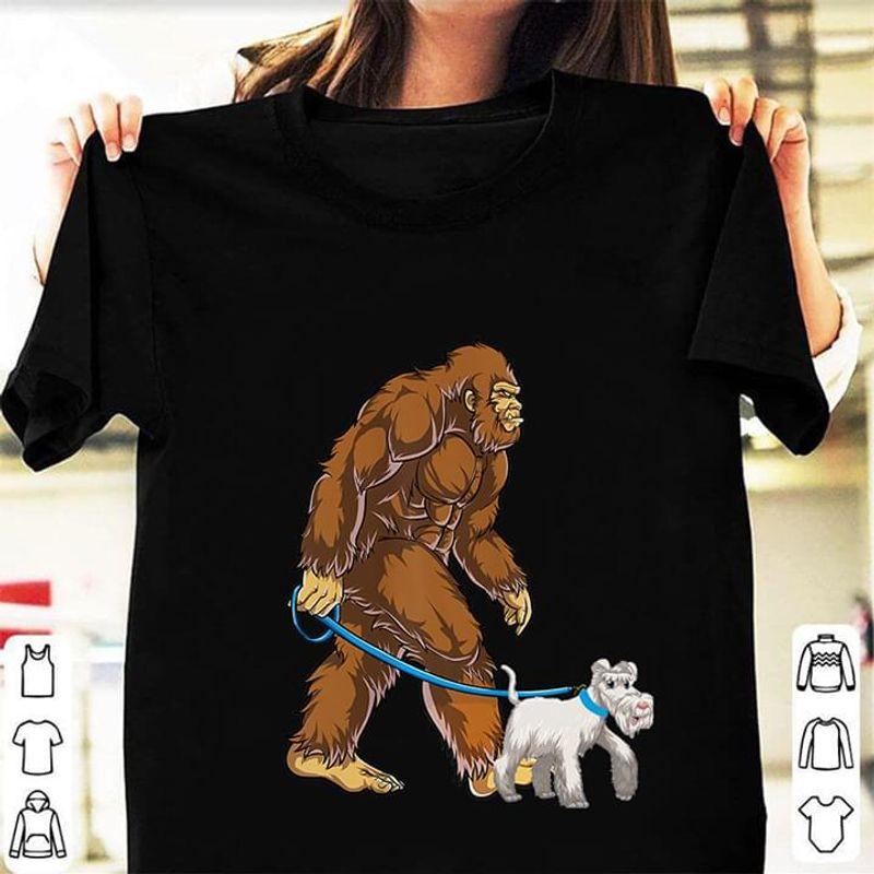 Bigfoot Sasquatch Walking Schnauzer Black T Shirt Men/ Woman S-6XL Cotton