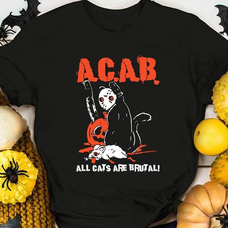 Black Cat Jason Voorhees Acab All Cats Are Brutal Halloween Gift Idea Black T Shirt Men And Women S-6XL Cotton