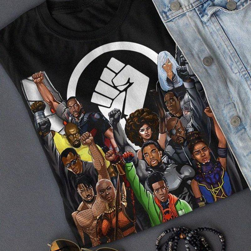Black Lives Matter Dark Skin Superhero Against Racist Unisex Bblack T Shirt Men And Women S-6XL Cotton