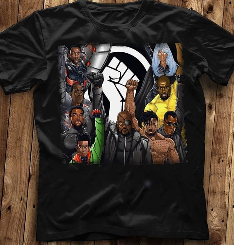 Black Lives Matter Superheroes Nick Fury Black T Shirt Men/ Woman S-6XL Cotton