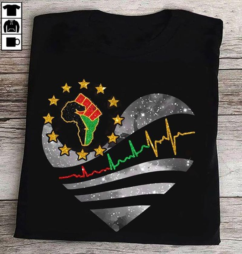 Black Pride Black Lives Matter Heart Clenched Fist Map Of Africa Black T Shirt Men/ Woman S-6XL Cotton