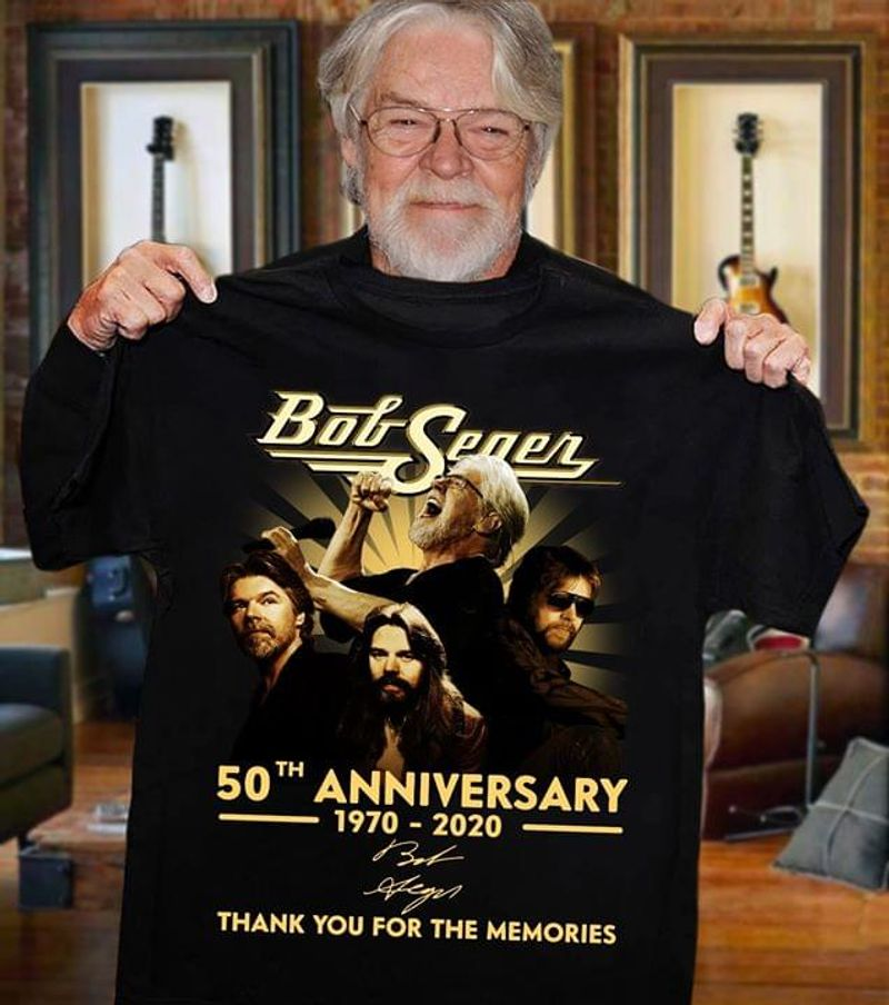 Bob Seger 50Th Anniversary Signatures Bob Seger And The Silver Bullet Band Black T Shirt Men And Women S-6XL Cotton