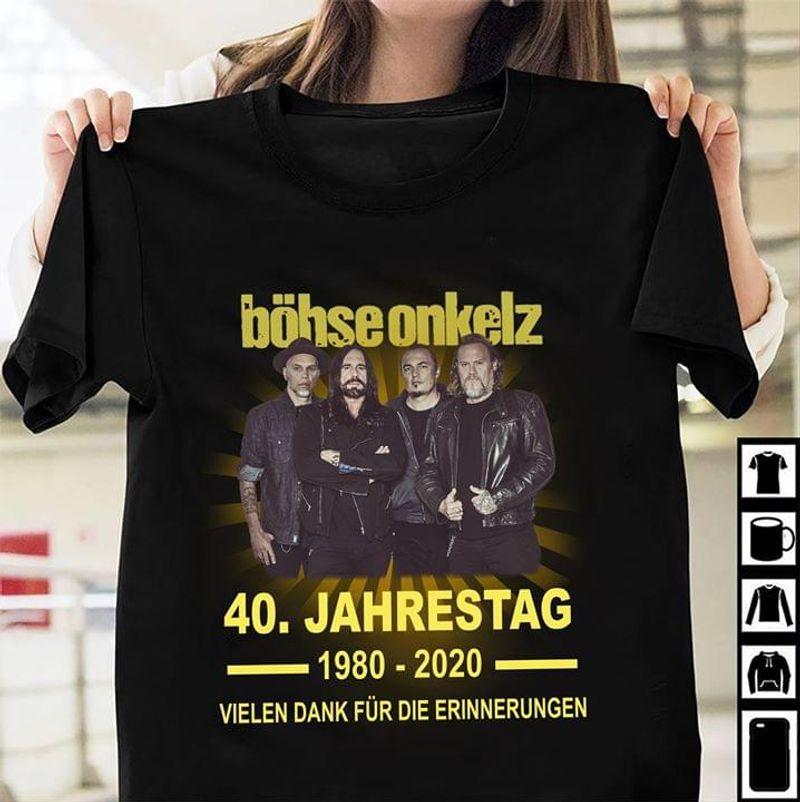 Böhse Onkelz Music Band Fans 40 Jahrestag 1980 2020 Black T Shirt Men And Women S-6XL Cotton