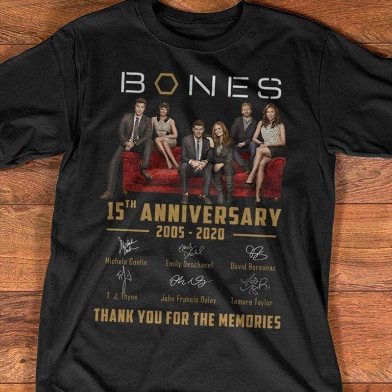 Bones Fans 15th Anniversary Thank You For The Memories Signature Black T Shirt Men And Women S-6XL Cotton