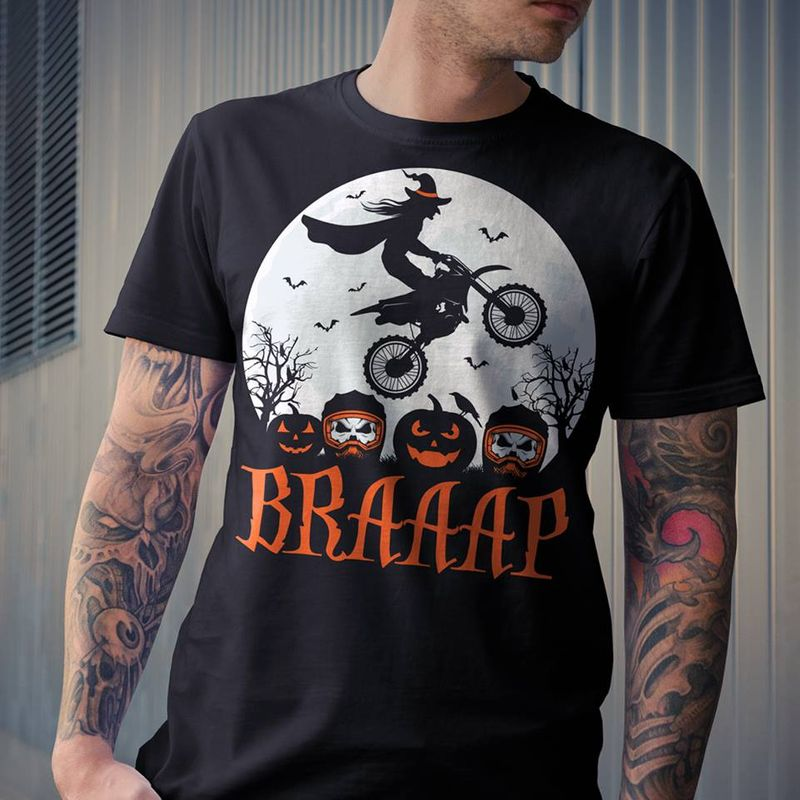 Braaap Witch Drive Motorcycle T-Shirt Black A8