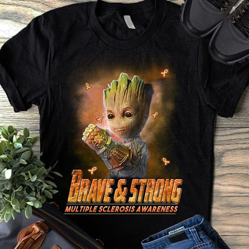 Brave And Strong Multiple Sclerosis Awareness    T-shirt Black B1