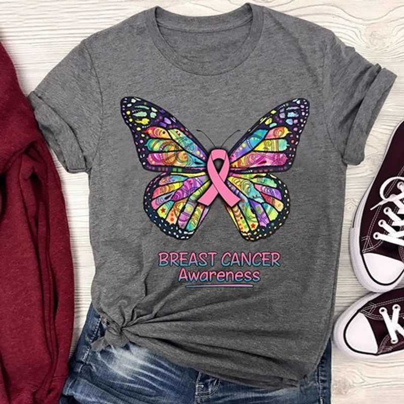 Breast Cancer Awareness Butterfly Tshirt Gray A2