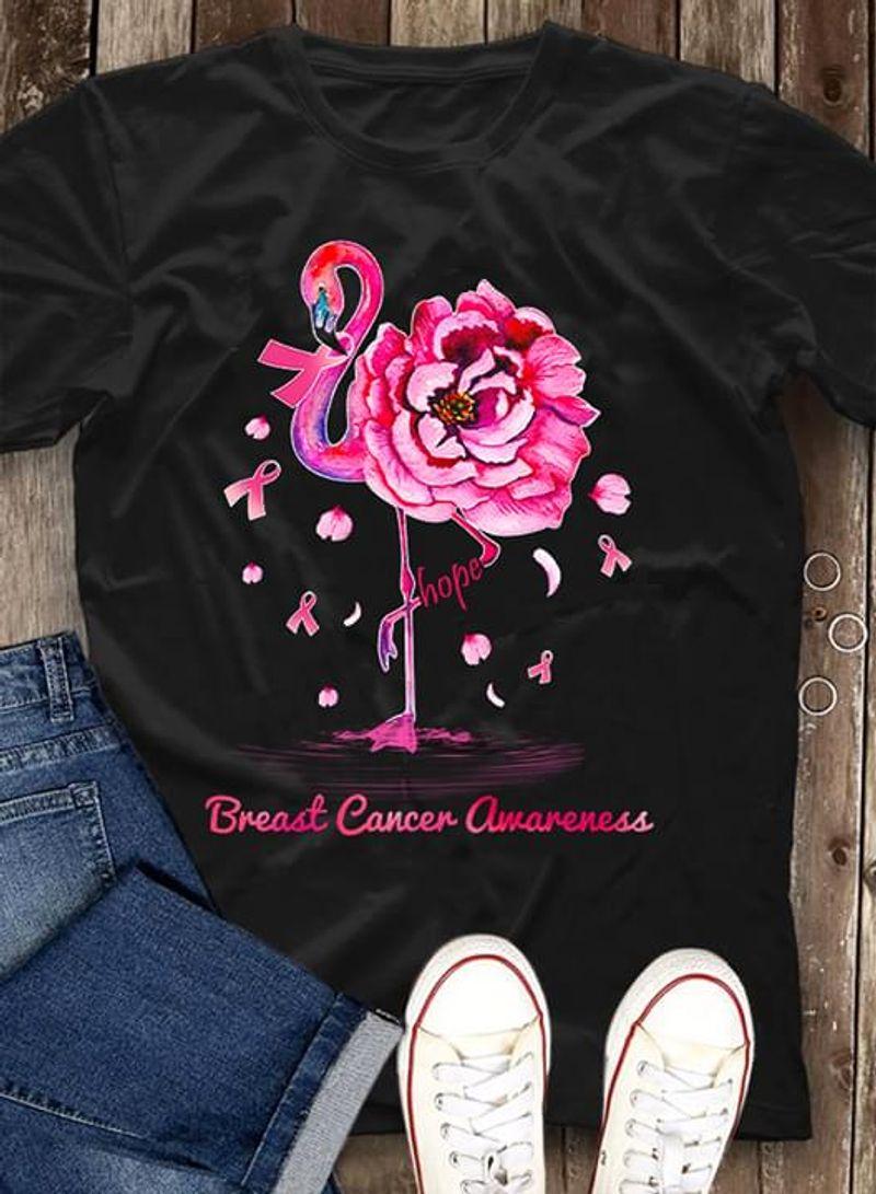 Breast Cancer Awareness Flower Flamingo Black T Shirt Men/ Woman S-6XL Cotton