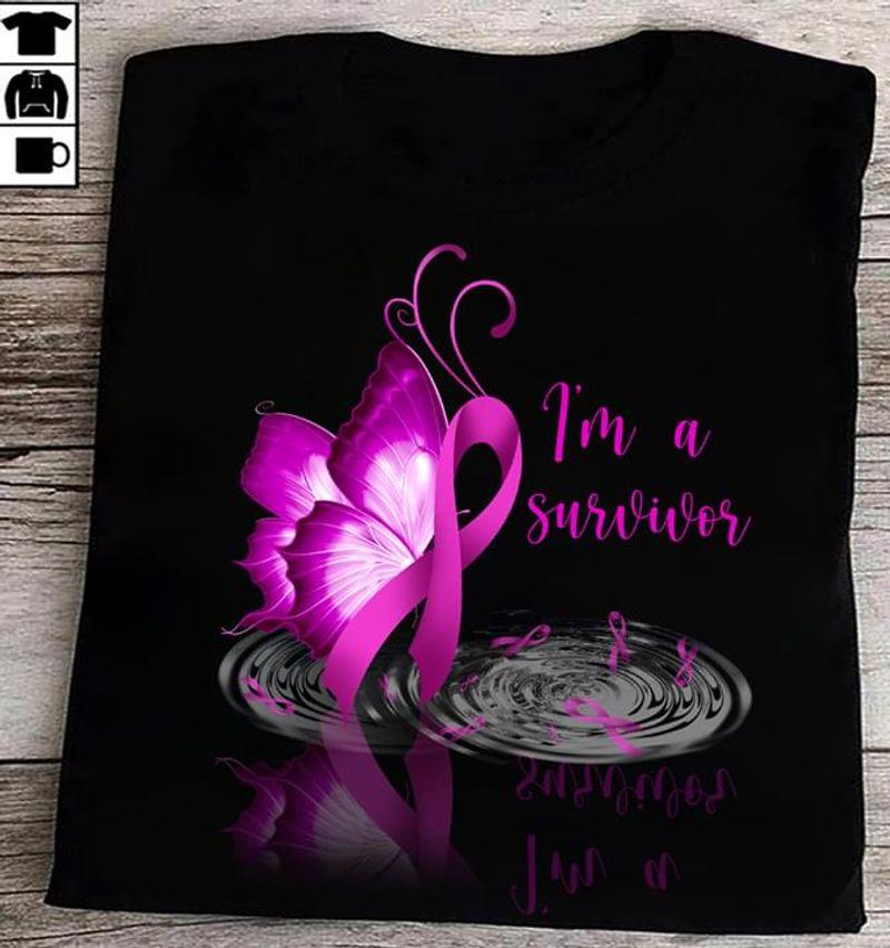 Breast Cancer Awareness I'M A Survivor Butterflies Black T Shirt Men And Women S-6XL Cotton