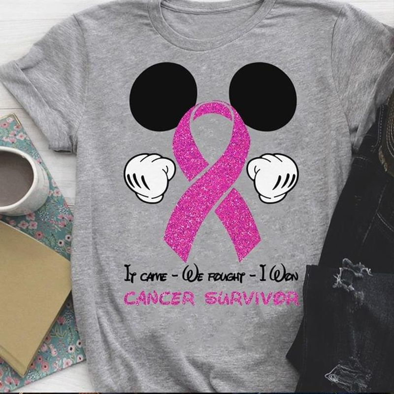 Breast Cancer Awareness It Came We Fought I Won Cancer Survivor Mickey Gray T Shirt Men And Women S-6XL Cotton