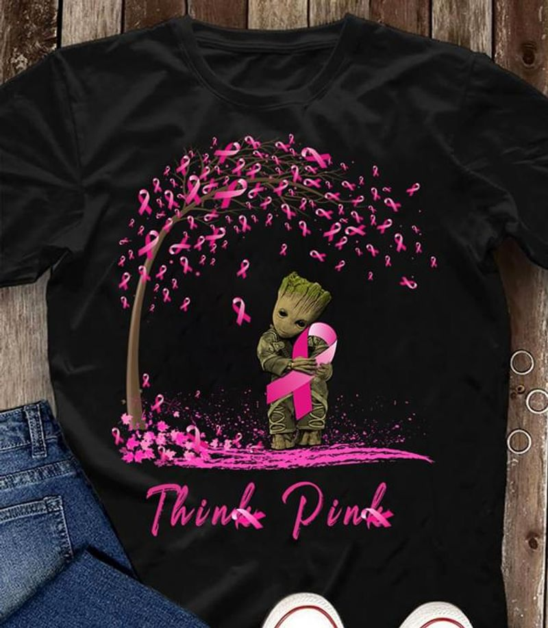 Breast Cancer Awareness Pink Ribbon Deadpool Think Pink Never Give Up Black T Shirt Men And Women S-6XL Cotton