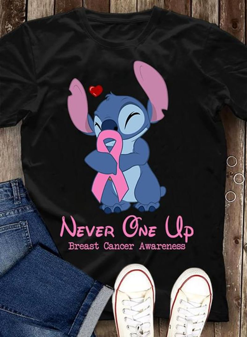 Breast Cancer Awareness Stitch Never One Up Gift For Disney Fans Black T Shirt Men And Women S-6XL Cotton