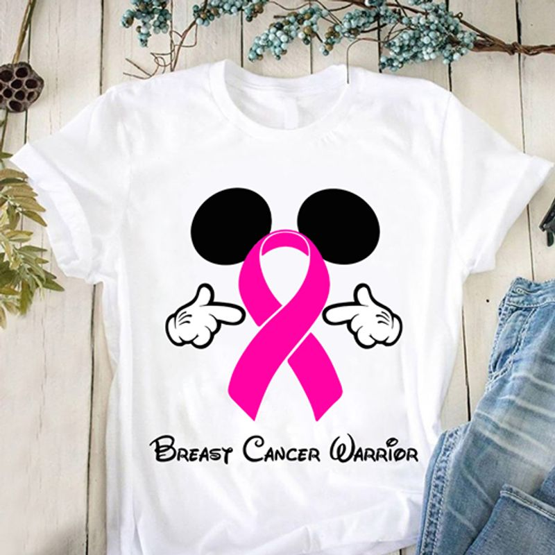 Breasy Cancer Warrior Mickey Mouse  T Shirt White B5