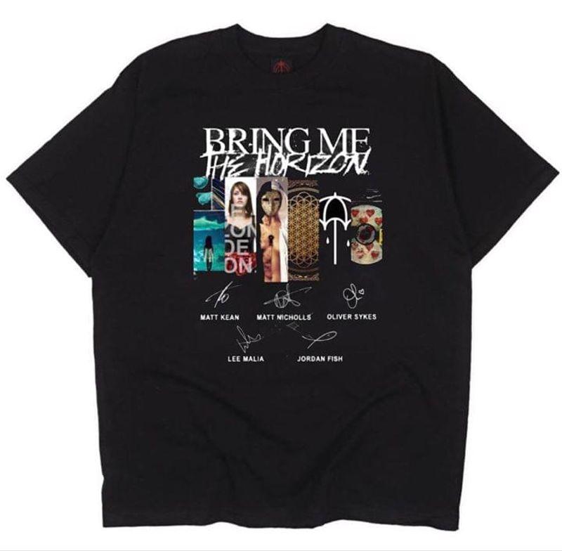 Bring Me The Horizon Fans Album Signature Black T Shirt Men And Women S-6XL Cotton