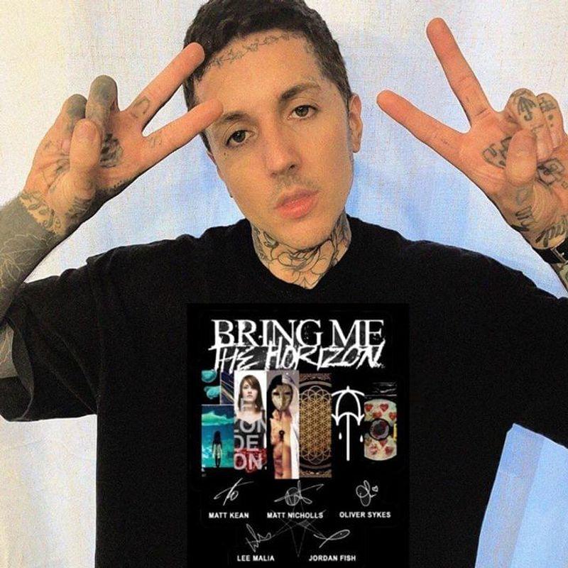 Bring Me The Horizon Fans Best Albums Signatures Black T Shirt Men And Women S-6XL Cotton
