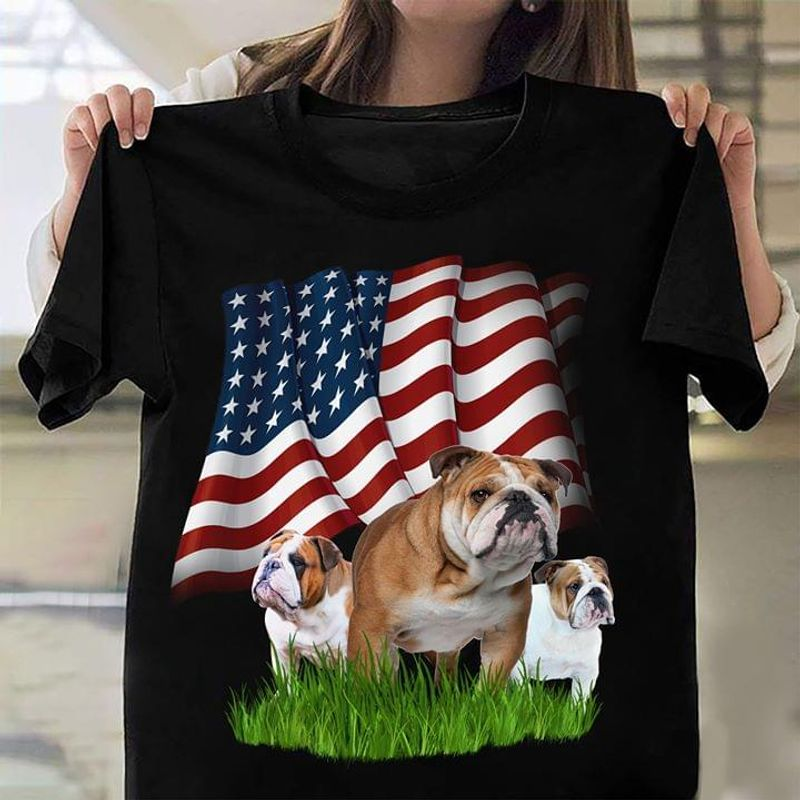 Bulldog 4Th Of July American Flag Independence Day Patriotic Dog Owners Black T Shirt Men And Women S-6XL Cotton