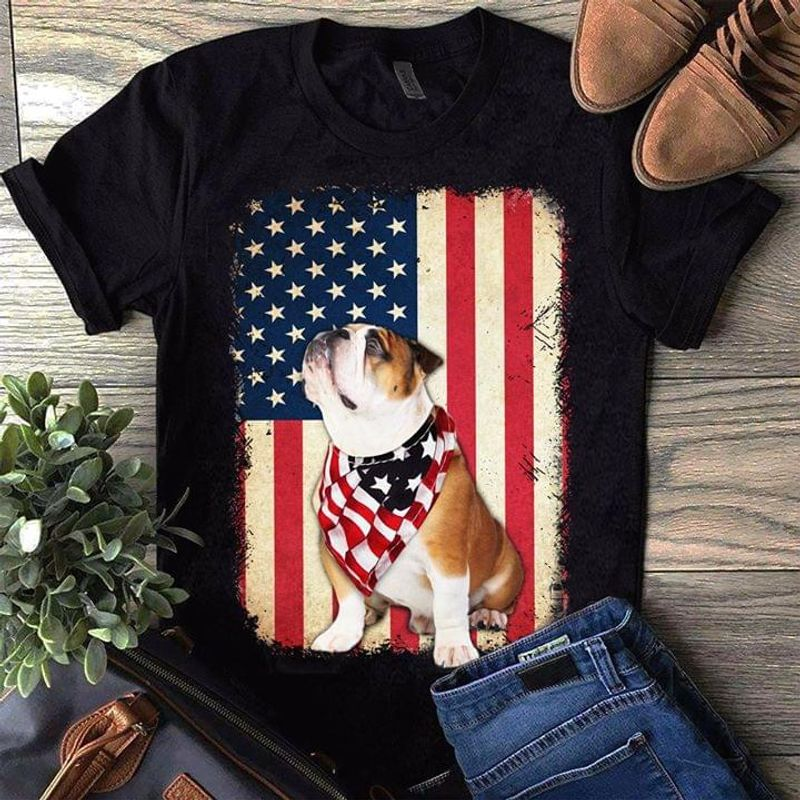 Bulldog Wearing United States Scraft Pattern Design For Youth Wearing On 4Th July Black T Shirt Men And Women S-6XL Cotton