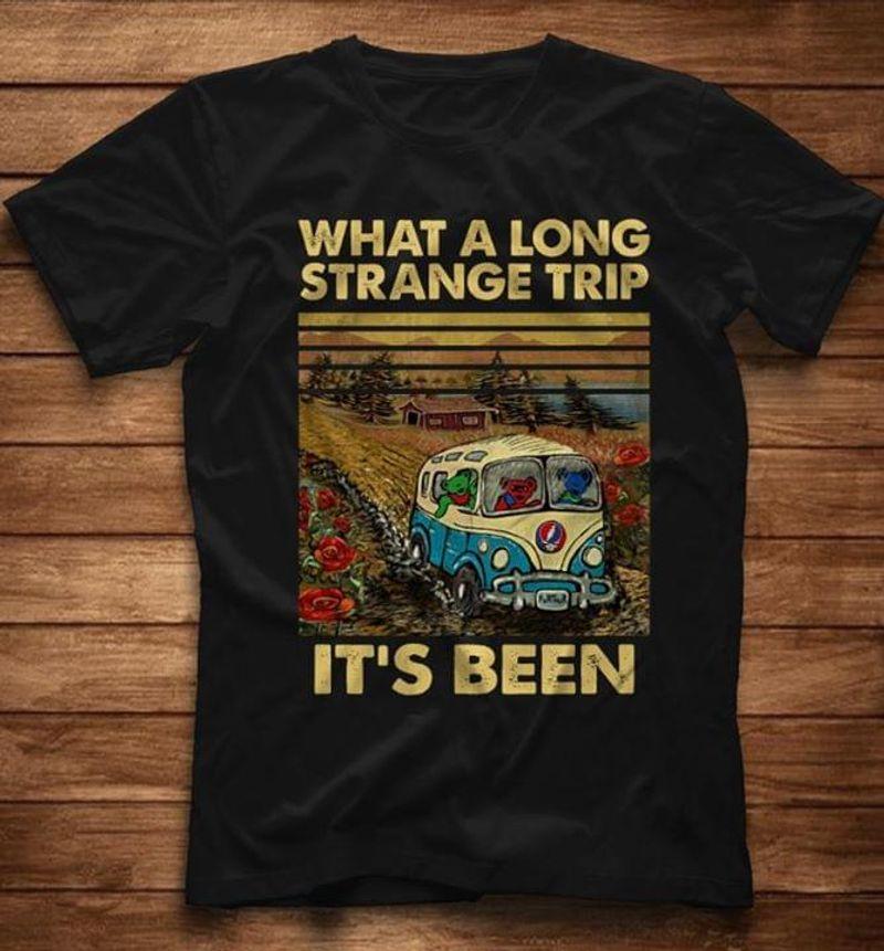 Bus Farm What A Long Strange Trip It'S Been Retro Vintage Farmer Black T Shirt Men And Women S-6XL Cotton