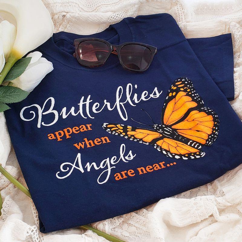 Butterflies Appear When Angels Are Near T-shirt Navy
