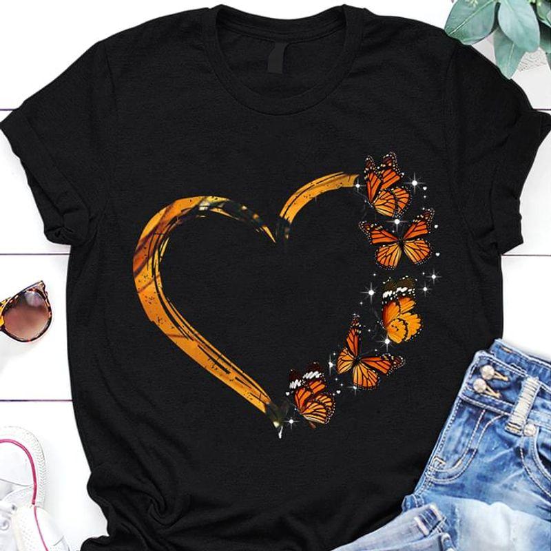 Butterflies Make Heart Shape Suitable For Girlfriend Wearing On Summertime Black T Shirt Men And Women S-6XL Cotton