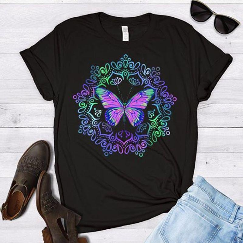 Butterfly Art Glass Pattern T-shirt Black A4
