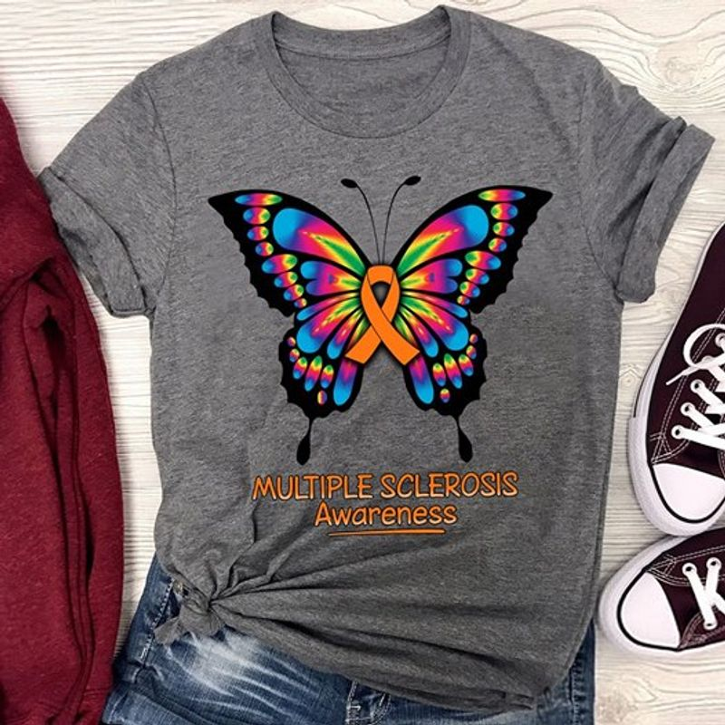 Butterfly Multiple Sclerosis Awareness Tshirt Gray A2