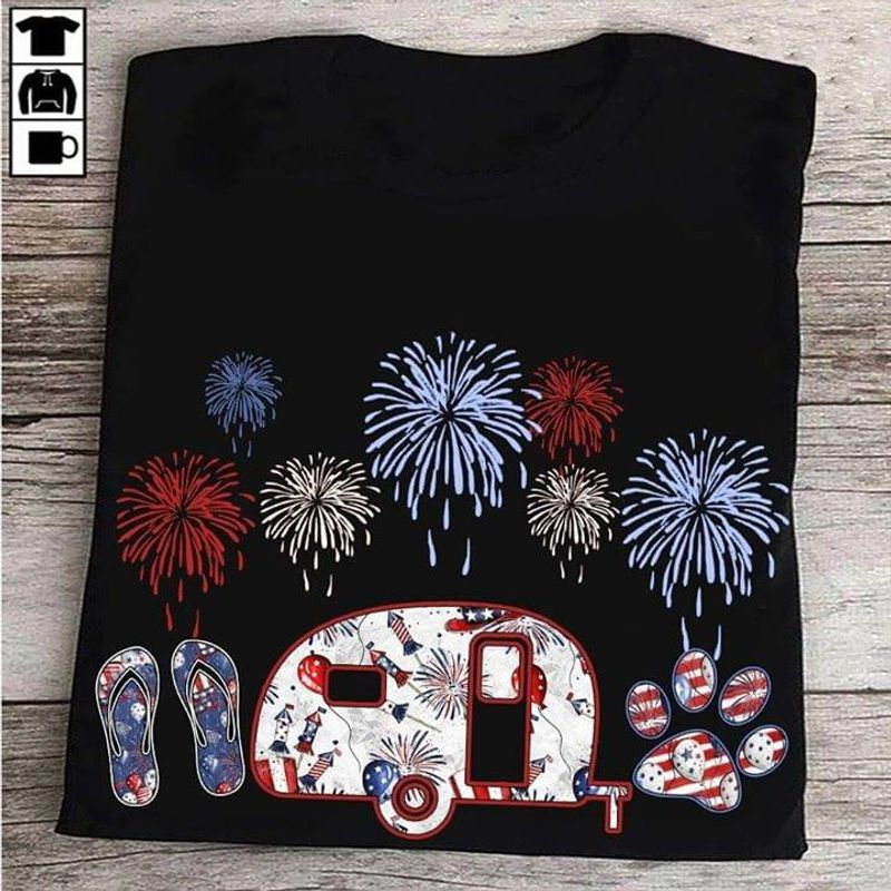 Camping And Dog Fireworks American Flag Independence Day 4th Of July T Shirt S-6XL Men And Women Clothing