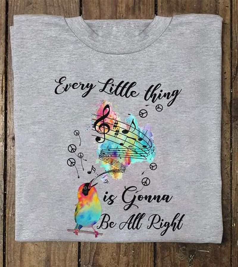Cardinals Birds Music Every Little Thing Is Gonna Be All Right Grey T Shirt Men And Women S-6XL Cotton
