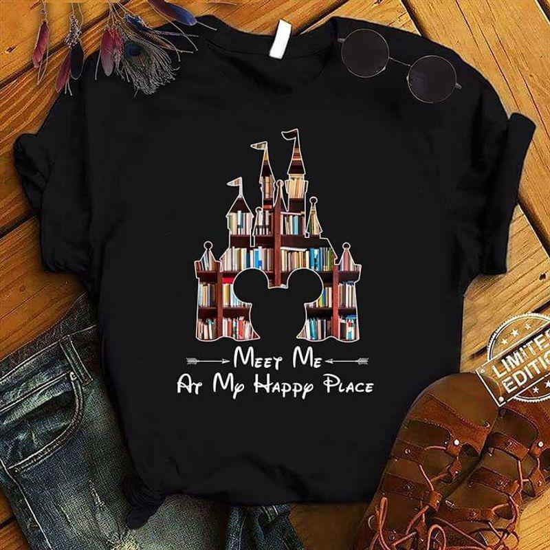 Castle Books Mouse Ears Meet Me At My Happy Place Black T Shirt Men/ Woman S-6XL Cotton