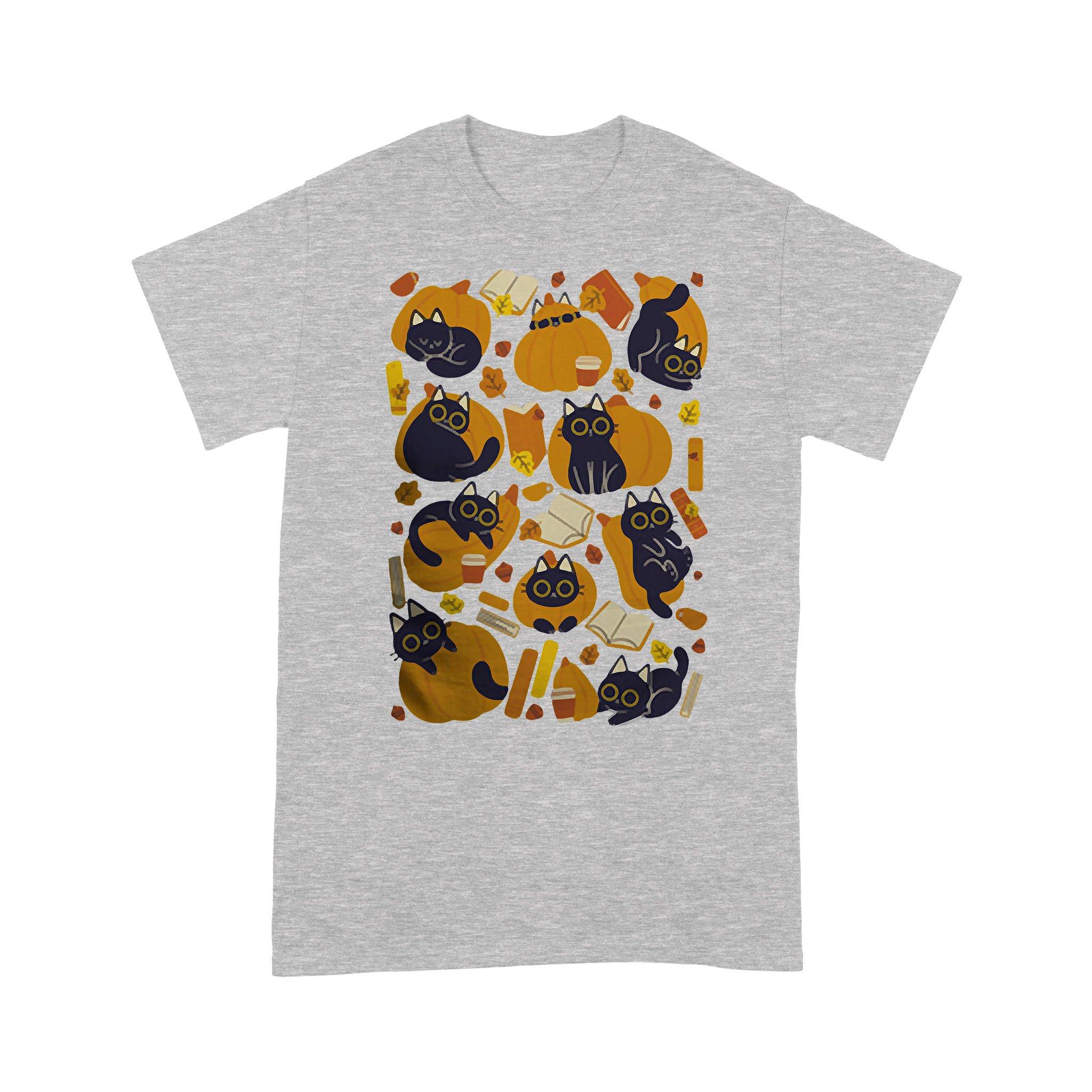 Cat Books And Pumpkins T-shirt