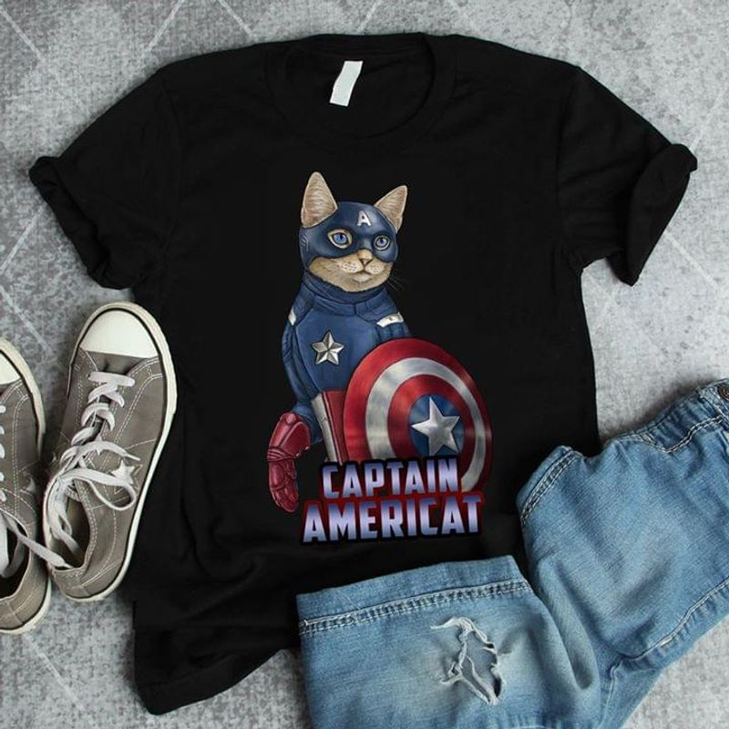 Cat Lovers Captain Americat Black T Shirt Men/ Woman S-6XL Cotton