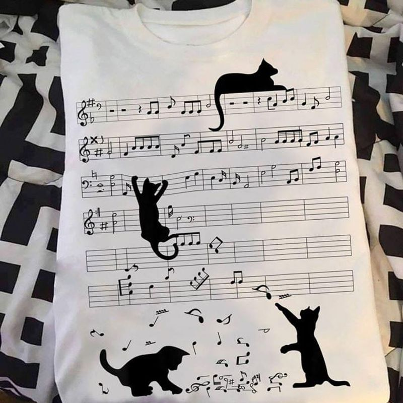 Cat Playing Music T Shirt S-6XL Mens And Women Clothing
