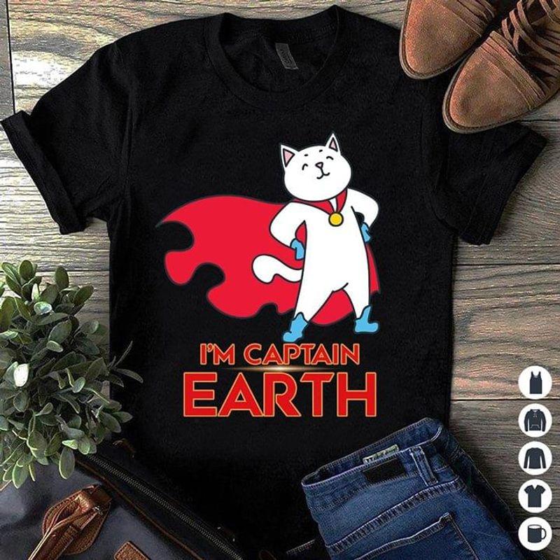 Cat Superhero I'm Captain Earth T-shirt Funny Cat Captain America Tee Cat Lovers Gift Black T Shirt Men And Women S-6XL Cotton