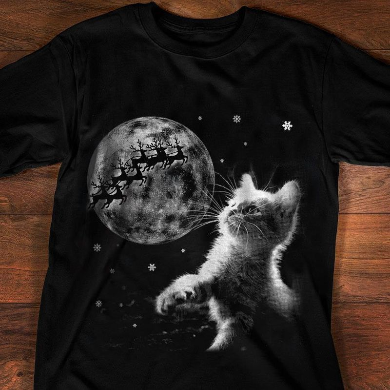 Cat Under The Moon Deer T Shirt Black A8