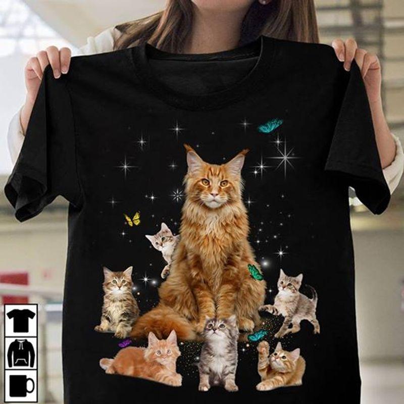 Cats And Butterflies T Shirt Black A3