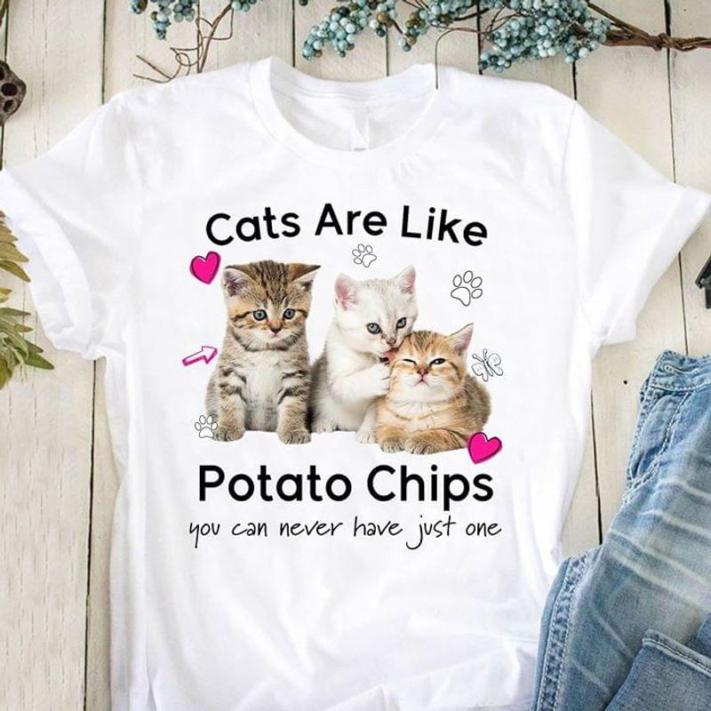 Cats Are Like Potato Chips You Can Never Have Just One Gift For Cat Lovers White T Shirt Men And Women S-6XL Cotton