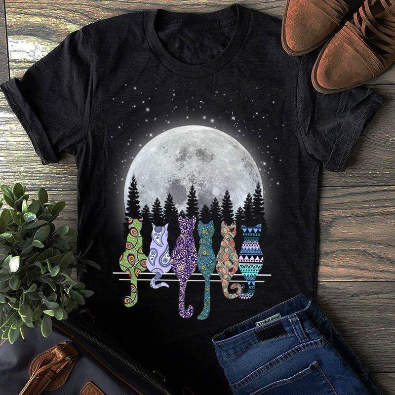 Cats Color See Moon  T-Shirt Black B7