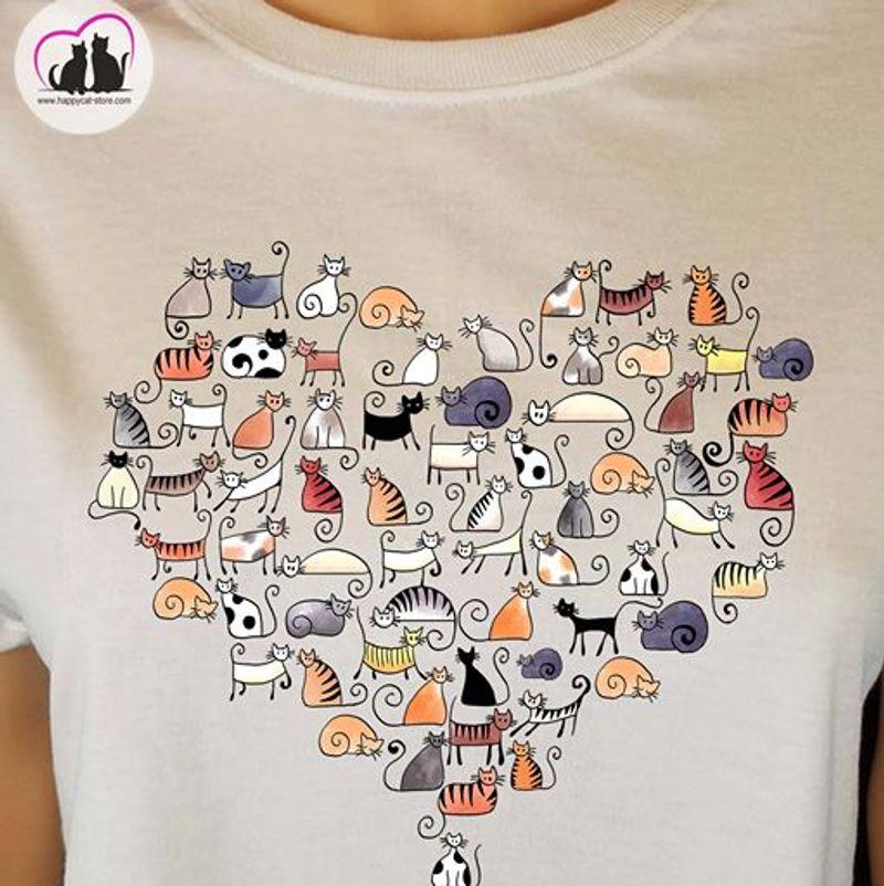Cats Heart Shaped T Shirt White
