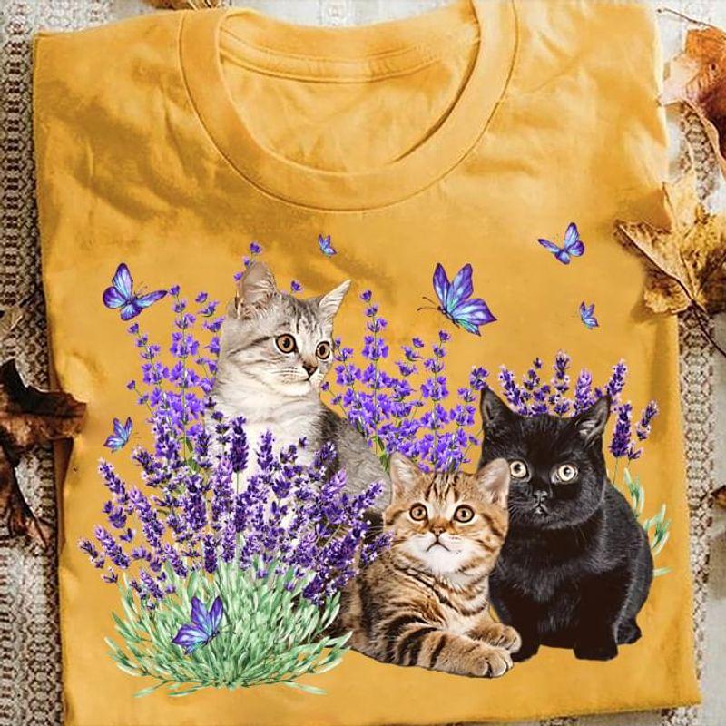 Cats Kittens Black Cat Tabby Cat Lavender Flowers Butterflies OrangeT Shirt Men/ Woman S-6XL Cotton