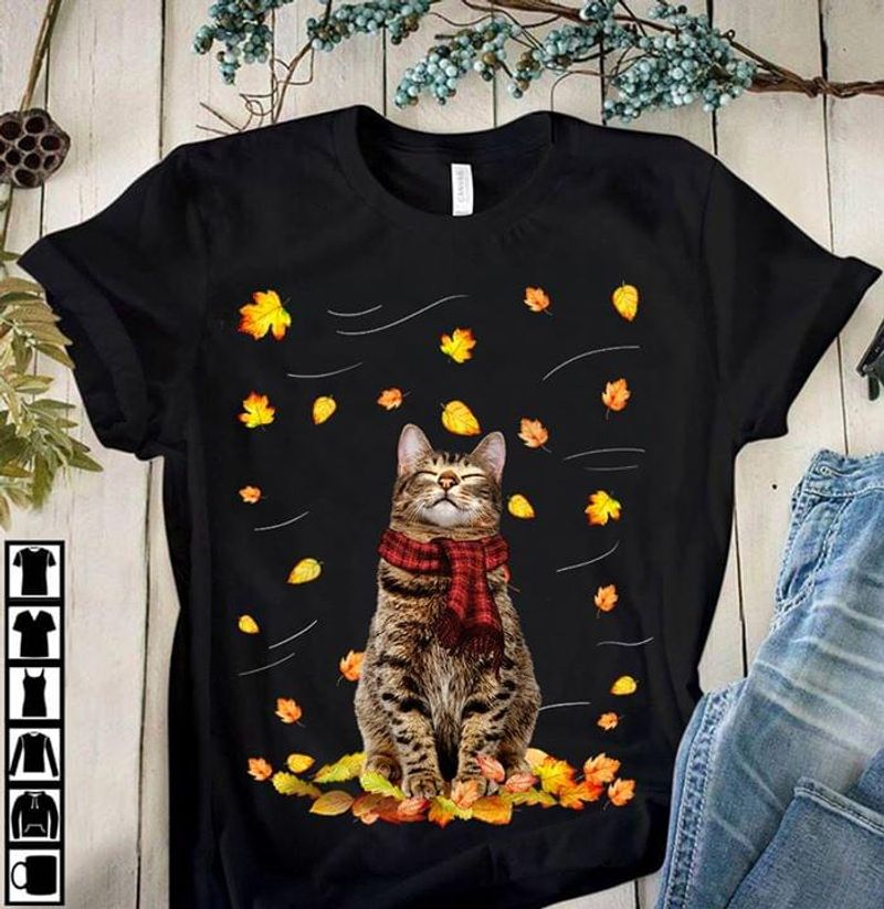 Cats Lover Cats Yellow Fall Animal So Cute Black T Shirt Men And Women S-6XL Cotton