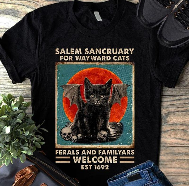 Cats Lover Salem Sanctuary For Way Ward Cats Ferals And Familyars Black T Shirt Men/ Woman S-6XL Cotton