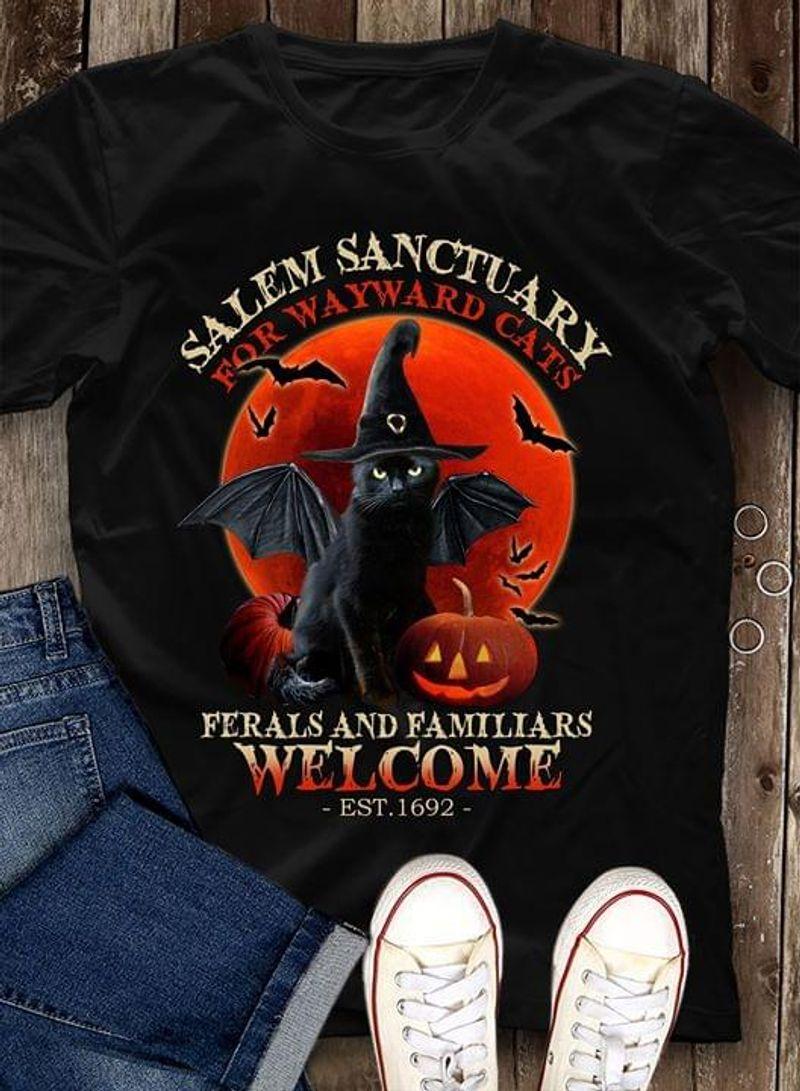 Cats Lovers Tee Halloween Black Cat Witch Salem Sanctuary Black Black T Shirt Men And Women S-6XL Cotton