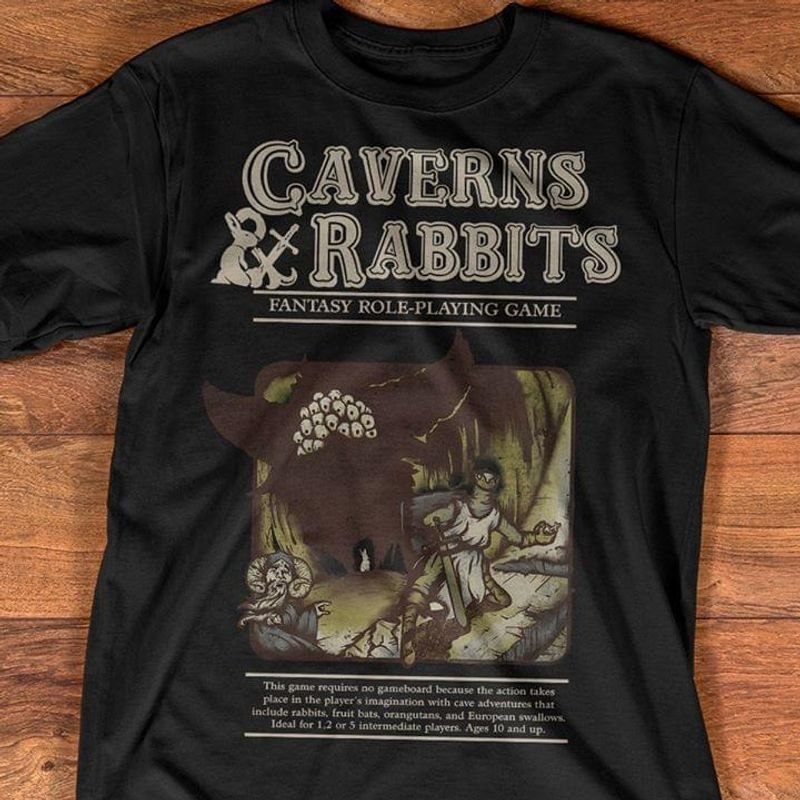 Caverns And Rabbits Fantasy Role Playing Game Video Gamer Dark Heather T Shirt Men/ Woman S-6XL Cotton