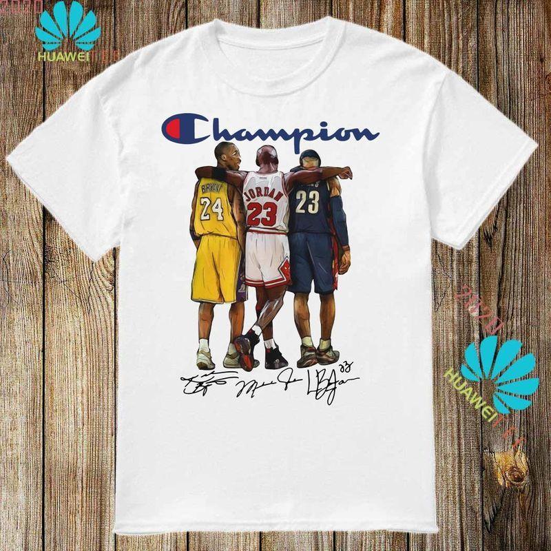Champion Lebron James Kobe Bryant Michael Jordan Signatures T Shirt White