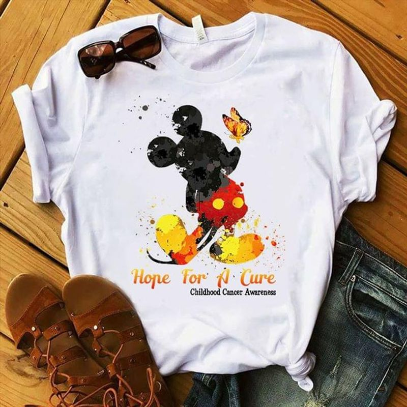 Childhood Cancer Awareness Mickey Mouse Hope For A Therapy Butterfly White T Shirt Men And Women S-6XL Cotton