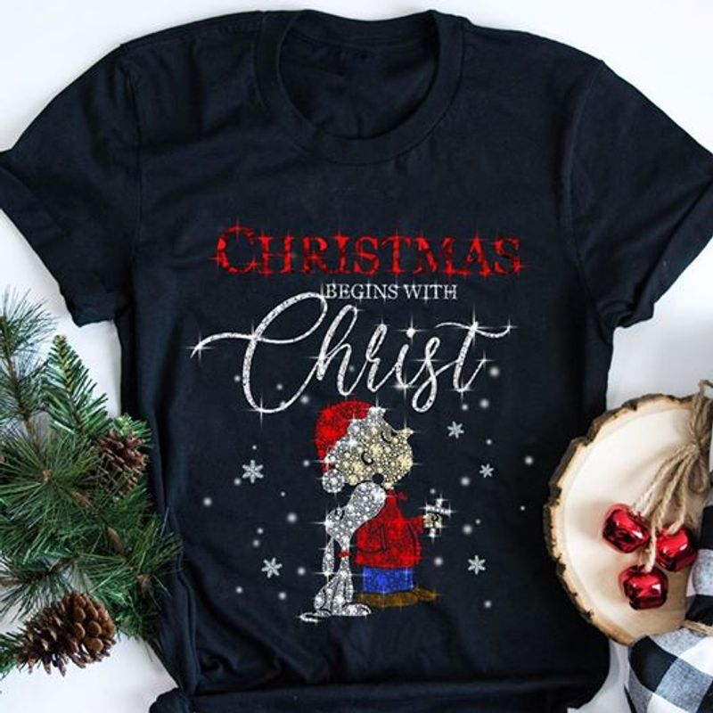 Christmas Begins With Christ Snoopy T Shirt Blue B7