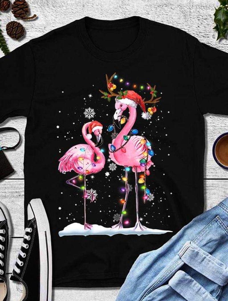 Christmas Flamingo Colorful Lights Christmas Gift For Flamingo Lovers Black T Shirt Men And Women S-6XL Cotton