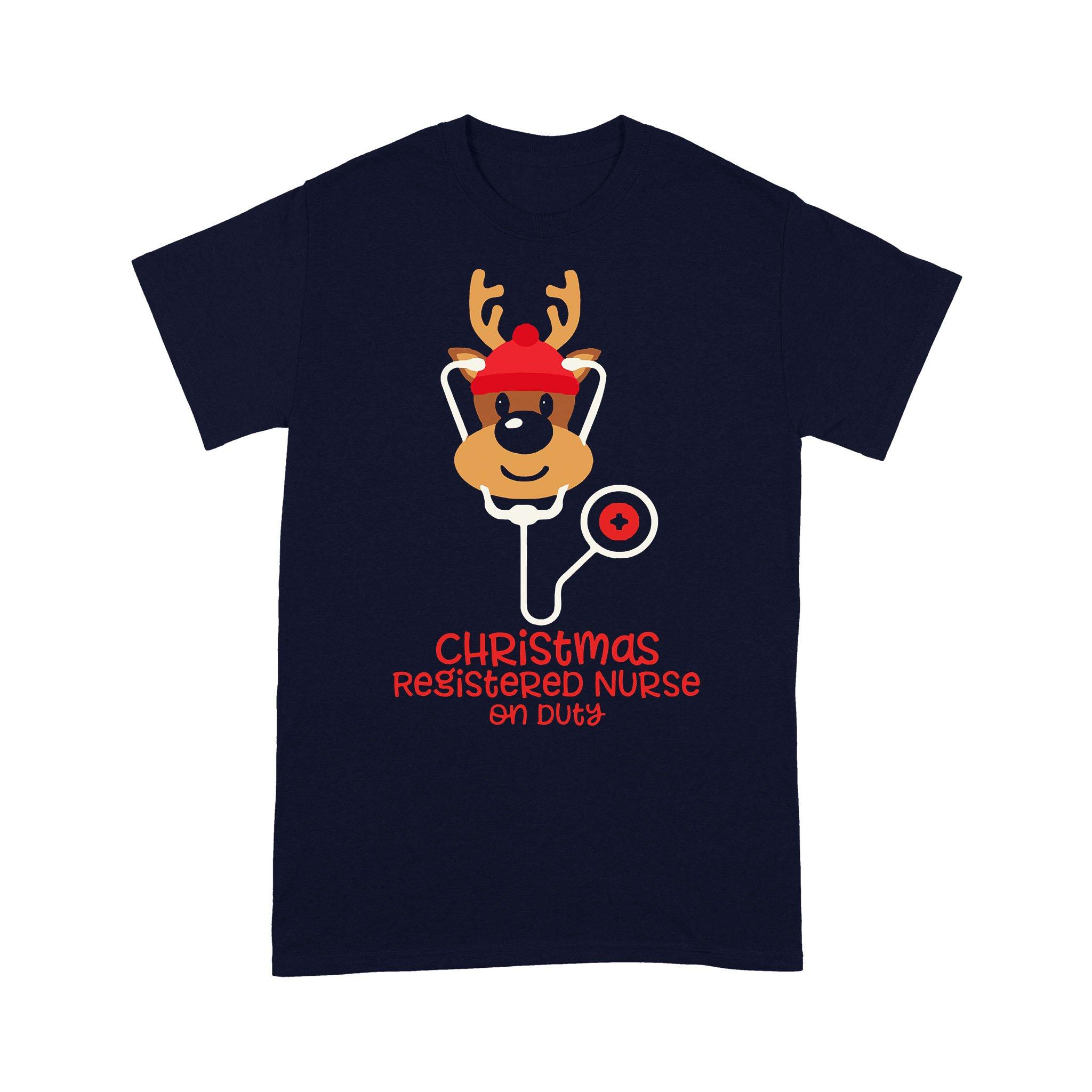 Christmas Registered Nurse Reindeer Nurse On Duty T-shirt