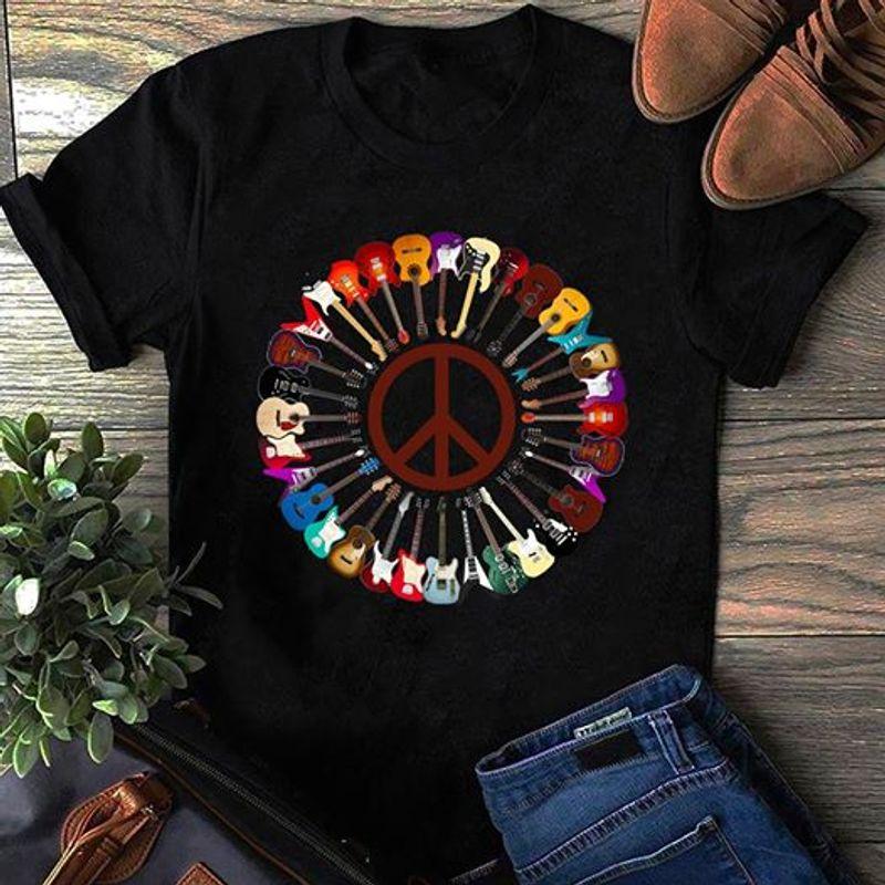 Circle Guitar T-shirt Black A8