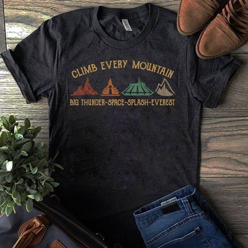 Climb Every Mountain Big Thunder Space Splash Everest T-shirt Black C2